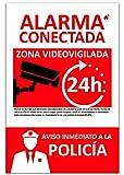 Nuevo Cartel de Alarma Conectada de PVC expandido de 3mm. Resistente al Intemperie y al fuego. (Cartel A4)