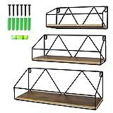 UMI. by Amazon Estantes de Pared flotantes rústicos, Set de 3 estantes de Madera rústicos para el baño, el salón o la Cocina