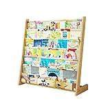 Librerías Estantería para niños Estante de ensamblaje Simple de Madera Maciza Estante de almacenaje para niños de pie estantes para Libros de imágenes para bebé multifunción