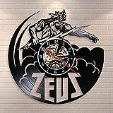 Reloj de pared grande Silencioso Sin tictac Relámpago antiguo Dios griego Reloj de pared Zeus Mitología griega Thunder Sky Thunderbolt Reloj de pared con registro de vinilo retro Reloj para coci