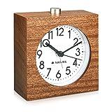 Navaris Reloj analógico de Madera con función Snooze - Despertador Retro en Forma de Cuadrado con luz y Alarma - Reloj silencioso en marrón Oscuro