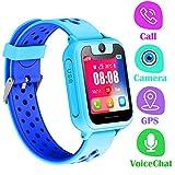 Telefono Reloj Inteligente GPS Niños - Smartwatch con Localizador GPS LBS Podómetro Juegos Despertador Camara Linterna per Niño y Niña de 3-12 Años (GPS, Azul)
