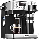 Aicook Cafetera Expresso, 3 en 1 Cafetera de 15 Bares con 700ml Taza de Viaje de Acero Inoxidable, Pantalla LCD, Cafetera para Espresso y Cappuccino, epósito de Agua de1,2 l, Negro
