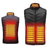 N/ Chaleco calefactor de 4 zonas para mujeres y hombres, chaleco calefactor con carga USB, abrigo calefactor de talla grande al aire libre, cálido para montar, esquiar, pescar (Negro, M)