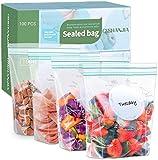 Queta Bolsas para congelador con Nueva tecnología sellada, herméticas, Cierre Ultra-Zip, Reutilizables, sin BPA, para Frutas, Verduras, jugos, Carnes, Dulces 18 * 20cm 18 * 20cm