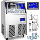 VEVOR Máquina para Hacer Hielo Comercial 50KG/24H, Acero Inoxidable+ABS, Panel de Control Inteligente LCD, Máquina para Fabricar Cono de Nieve, Función de Reserva 5-7 Horas, Bomba de Deshidratación