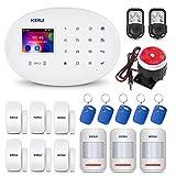 KERUI W20 WiFi/gsm Control de Sistema de Alarma de Seguridad para el Hogar vía Call/SMS/App (iOS y Android) Kits de Sistema de Alarma Antirrobo con Etiquetas RFID, Dial Automatic, Fácil de Operar