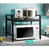 Aluminio Estantería Microondas Encimera, Cocina Almacenamiento Estantes Utilidad Soporte Horno Estantería De Cocina Especia Gabinete Contador Metálico Marco Organizador Estantes-i-negro 2-niveles