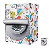 Funda Secadora & Cubierta Impermeable para Lavadora,Funda Secadora Carga Frontal (Hojas de colores, L(60x60x85CM))