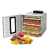 Seapn - Deshidratador de alimentos, 10 bandejas con ventana de cristal visible, bajo consumo de voz y energía, deshidratador para frutas, carne
