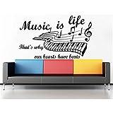 Quote Music is Life That Why Our Hearts Have Beats - Adhesivo decorativo para estudio de grabación de frases