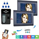 Timbre de Video Wifi, Sistema de Entrada de Videoportero Inalámbrico/con cable de 7 pulgadas, 2 Monitores + Cámara de Visión Nocturna, Contraseña de huella digital RFID Desbloqueo de APP