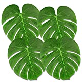 MINGZE 50 Piezas Hojas de Palmeras Tropicales Grandes, de 35 * 29 cm para Decoraciones de Fiesta Tropical Hawaiian Tema de Playa de Barbacoa Suministros BBQ Decoraciones de Mesa