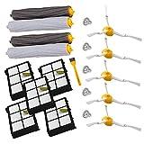 Accesorio para Irobot Roomba Rueda de rueda + Filtro HEPA + Reemplazo del kit de cepillo lateral para iRobot Roomba 800 860 870 880 980 Aspirador Accesorios Piezas (6)