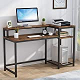 Tribesigns Mesa de Ordenador, Escritorio de Computadora con Estantería & Soporte de Monitor, Industrial Mesa de Estudio para Oficina, Dormitorio