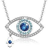 MEGA CREATIVE JEWELRY Collar para Mujer con Cristales Swarovski Ojo Azul Mano Hamsa