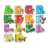 Wqzsffgg 26 Piezas Alfabeto Robot Letra Transformador Juguetes para niños Aprendizaje ABC, transformación en UN vehículo/Dinosaurio, Regalo de Aprendizaje, Fiesta de Navidad y cumpleaños