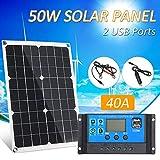 Lilideni 50W DC 5V / 18V Panel Solar de Doble Salida con 2 Puertos USB y Carga para automóvil IP65 Resistencia al Agua 12V / 24V Controlador de Carga Solar Regulador Inteligente PWM