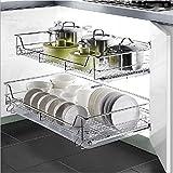 GOTOTOP Organizador Deslizante del Gabinete para Cocina Cesta de Cable Cromado de Almacenamiento para Cajón de Estanterías Alacena de Cocina (600mm)