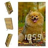 Reloj Despertador Digital para dormitorios Cocina Oficina 3 configuraciones de Alarma Radio Relojes de Escritorio de Madera - Mile of Dog Pomeranian Spitz