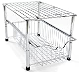 Amtido - Organizador de armario apilable para poner debajo del fregadero con cajón deslizante para cocina y baño-Cromado