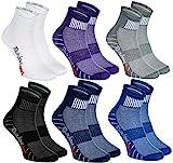Rainbow Socks - Hombre Mujer Calcetines Deporte Colores de Algodón - 6 Pares - Púrpura Negro Gris Azul Marino Azul Blanco - Talla 36-38