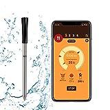 FITCHCE Termómetro de carne barbacoa inalámbrico,Termómetro de cocina inteligente con sonda Bluetooth para horno de parrilla de barbacoa de cocina de ahumador, compatible con Ios y Android