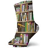 artyly Novedad, divertido, loco, calcetín de tripulación, estanterías de dibujos animados en la biblioteca, medias deportivas estampadas, calcetín de 30 cm para hombres y mujeres