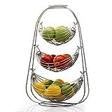 NONMON Cesta de Frutas,Frutero de 3 Pisos de Metal Cromado,Diseño de Hamaca,Cuencos de Gran Capacidad,Organizador Estantes para Fruta Verdura,Soporte de Almacenamiento Moderno para Cocina Mostrador