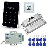 LIBO Kit de Conjunto Completo de Teclado de Control de Acceso RFID 125KHz con DC12V Cerradura Eléctrica Cerradura de Perno Electrónico, 3A Fuente de Alimentación, Botón de Salida