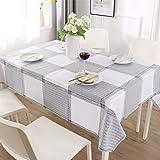 ENCOFT Manteles de Plástico para Mesas Rectangular de PVC Impermeable Mantel para Comedor Antimanchas Hules para Mesas Cocina Patrón Cuadro Negro Blanco 140x220cm