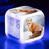 Wake Up Lights USB Fox Alarm Clock 7 Lámpara De Estado De Ánimo LED Que Cambia De Color Brillante Reloj Despertador Digital Habitación Para Niños Con Termómetro Relojes ElectrónicosB