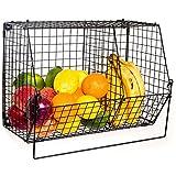 ChasBete cesta de metal plegable cuencos de fruta Organizador cesta de almacenamiento rack montado en la pared para cocina baño