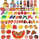 joylink 139pcs de Juguetes Cortar Frutas Verduras Pizza Juego de Plástico para Niños Juguetes Temprano Eeducativos Set de Alimentos de Corte Juguete del Bebé
