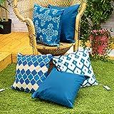 Gardenista Fundas de Cojines de Jardin Decorativas 45x45 cm | Tela Suave Agua Resistente | Imprimido Ultravioleta | Colleccion Marrueco (Azul Marroquí, 5 Piezas)