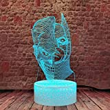 Batman x JokerLuz de Noche LED Ilusión 3D Lámpara de Mesa de Cabecera 16 colores Cambiando con el Botón de Tacto Inteligente Iluminación decoración Dormir Lámpara