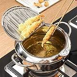 Estufa de freír Tempura, olla de freidora de acero inoxidable con control de temperatura y colador de aceites, herramientas de cocina multifuncionales para pollo frito, pescado secado, Tempura, etc.