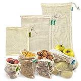 Bolsas reutilizables fruta. 4 bolsas reutilizables compra de malla de algodón para productos frescos. Lavables y transpirables para frutas, verduras, juguetes. Sin BPA, ecológicas y biodegradables.