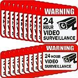 20 Piezas de Pegatina de Videovigilancia Adorno de Señal de 2 Tamaños para Pegatina de Sistema de Alarma de Cámara, 5 x 5 Pulgadas y 3 x 4 Pulgadas Señales Adhesivos de 24 Hours Security Warning