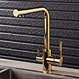 Filtro grifo de la cocina grifo de agua fría rotación de 360 grados Hot Tap purificador grifo de doble spray recipiente para beber agua del grifo grifo del lavabo, Oro