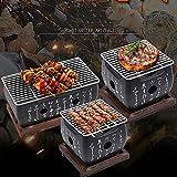 HR Barbacoa de Mesa BBQ, Barbacoa Japonesa portátil, Horno de carbón Vegetal con Bandeja Antiadherente