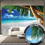 GREAT ART Mural De Pared – Playa Palmera – Sueño Caribeño Playa Bahía Paraíso Naturaleza Isla Palmeras Trópicos Cielo Azul Foto Papel Pintado Y Tapiz Y Decoración (336 x 238 cm)